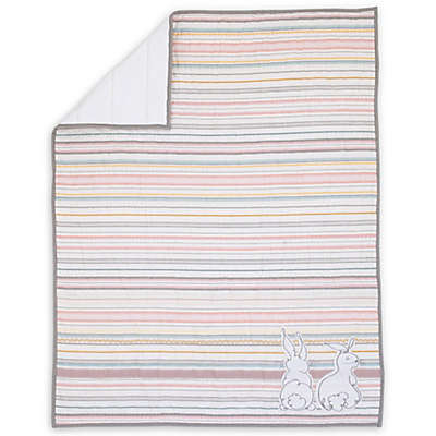 ED Ellen DeGeneres Cotton Tail Striped Quilt in Pink/Grey