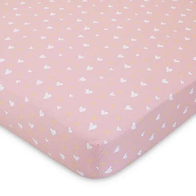 ED Ellen DeGeneres Cotton Tail Heart-Print Fitted Crib Sheet in Pink/Peach