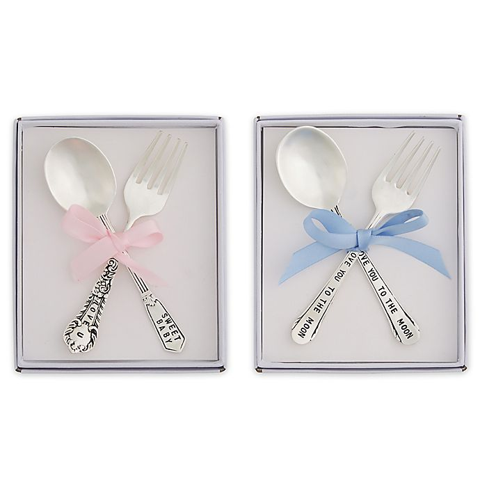 Alternate image 1 for Mud Pie® 2-Piece Vintage Silver-Plated Feeding Set