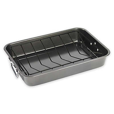 17-Inch Carbon Steel Roaster with Nonstick Rack in Grey