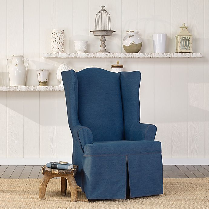 Remarkable Surefit Authentic Denim Wing Chair Slipcover Gmtry Best Dining Table And Chair Ideas Images Gmtryco