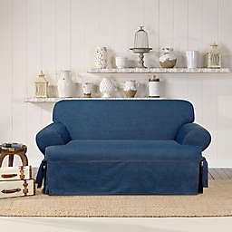 SUREFIT Authentic Denim T-Cushion Loveseat Slipcover