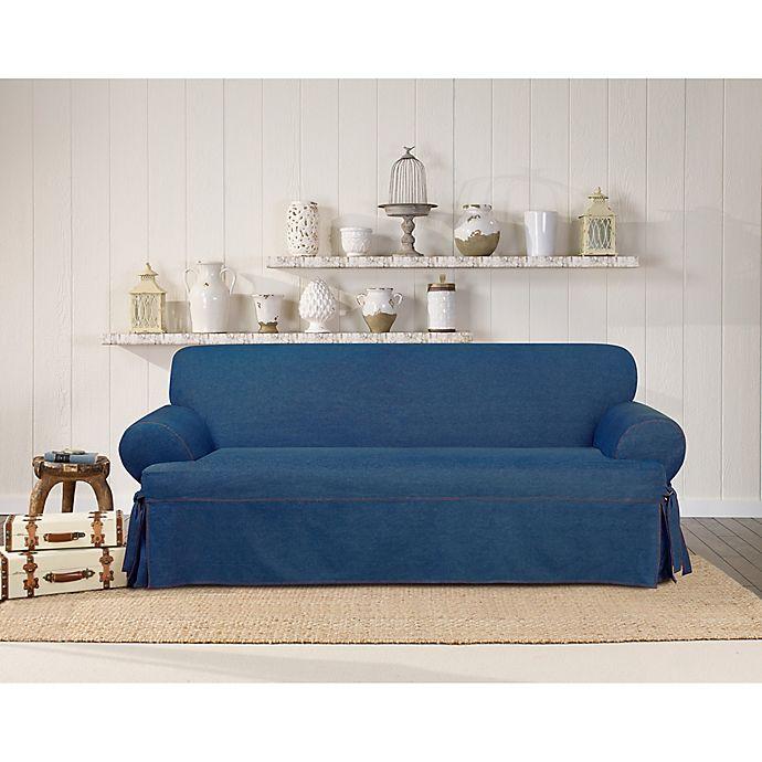 Surefit Authentic Denim T Cushion Sofa Slipcover Bed Bath