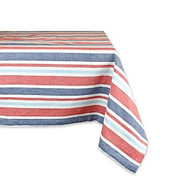 Design Imports Patriotic Stripe 60-Inch x 84-Inch Oblong Tablecloth in Red/Blue
