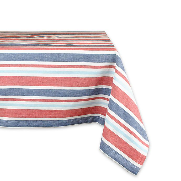 Alternate image 1 for Design Imports Patriotic Stripe 60-Inch x 84-Inch Oblong Tablecloth in Red/Blue