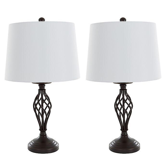 Alternate image 1 for Nottingham Home Spiral Table Lamp in Black (Set of 2)