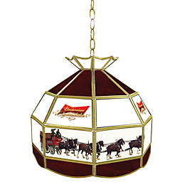 Budweiser® Clydesdales Stained Glass Pendant Billiard Lamp in  Deep Red/White