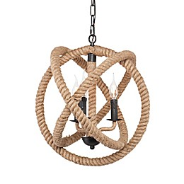 Southern Enterprises Mayberly 3-Light Rope Orb Pendant Light