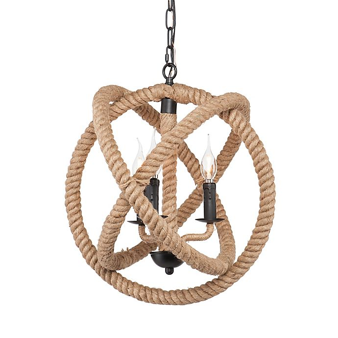Alternate image 1 for Southern Enterprises Mayberly 3-Light Rope Orb Pendant Light