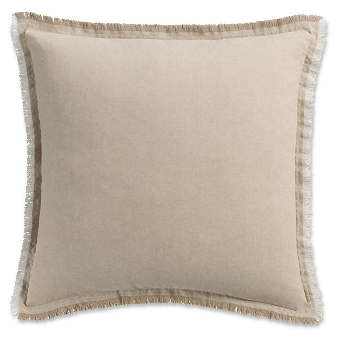 Alternate image 1 for Haven Frayed Edge Square Throw Pillow in Khaki