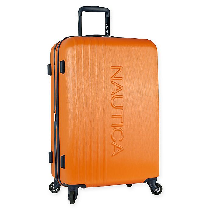 Alternate image 1 for Nautica® Life Boat 24-Inch Hardside Spinner Checked Luggage in Orange