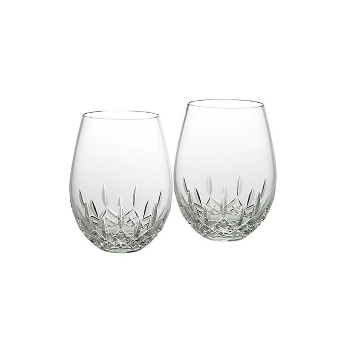 Alternate image 1 for Waterford® Lismore Nouveau Stemless Crystal 18 oz. Deep Red Wine Glasses (Set of 2)