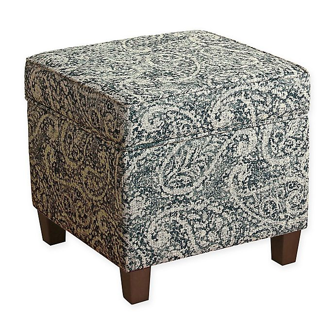 Miraculous Homepop Square Storage Ottoman In Blue Grey Bed Bath Beyond Gmtry Best Dining Table And Chair Ideas Images Gmtryco