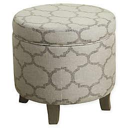 HomePop Round Storage Ottoman in Grey/Brown
