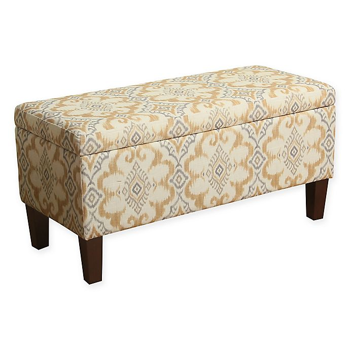 Awe Inspiring Homepop Traditional Storage Bench In Yellow Grey Bed Bath Gmtry Best Dining Table And Chair Ideas Images Gmtryco