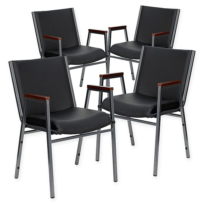 Alternate image 1 for Flash Furniture Vinyl Stacking Chairs in Black (Set of 4)