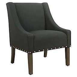 HomePop Swoop Slubby Linen Upholstered Modern Accent Chair in Grey