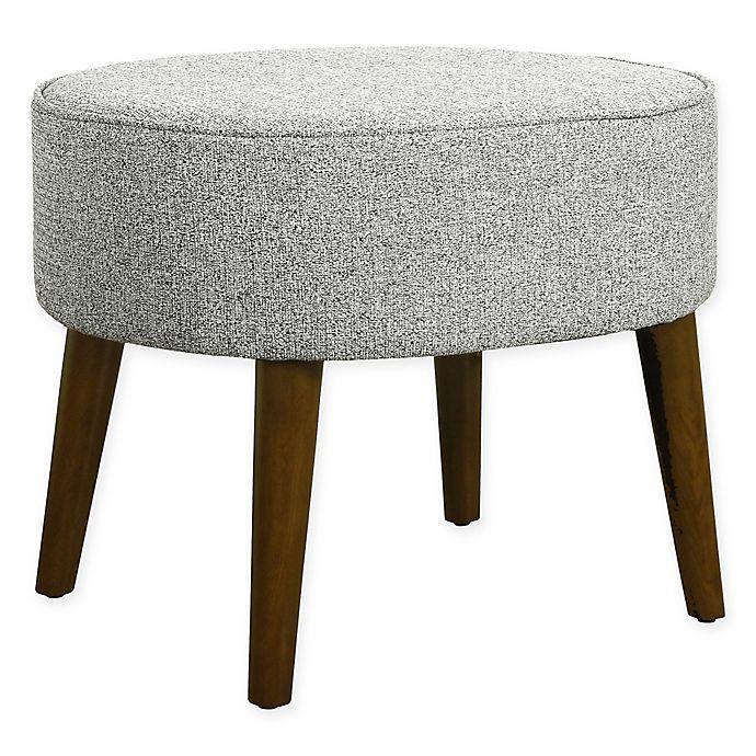 Peachy Homepop Mid Century Oval Ottoman With Wood Legs In Ash Grey Machost Co Dining Chair Design Ideas Machostcouk