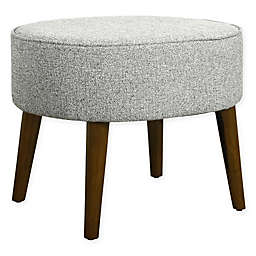 HomePop Mid-Century Oval Ottoman with Wood Legs in Ash Grey