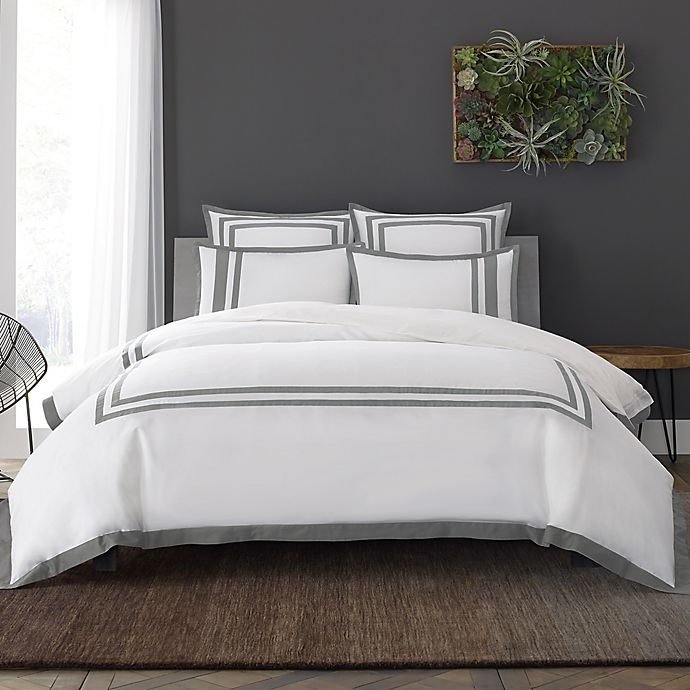 Alternate image 1 for Wamsutta® Hotel Border MICRO COTTON® Full/Queen Duvet Cover Set in White/Charcoal