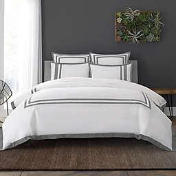 Wamsutta® Hotel Border MICRO COTTON® Full/Queen Duvet Cover Set in White/Charcoal
