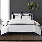 Wamsutta® Hotel Border MICRO COTTON® King Duvet Cover Set in White/Navy