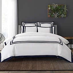 Wamsutta® Hotel Border MICRO COTTON® King Duvet Cover Set in White/Navy