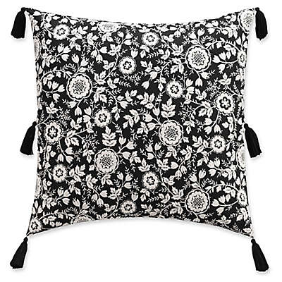 Cupcakes and Cashmere Folk Floral European Pillow Sham in Black/White