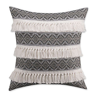 Cupcakes and Cashmere Folk Floral Fringe Square Throw Pillow in Black/White