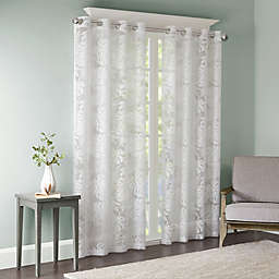 Madison Park Leilani 95-Inch Grommet Top Window Curtain Panel in White (Single)