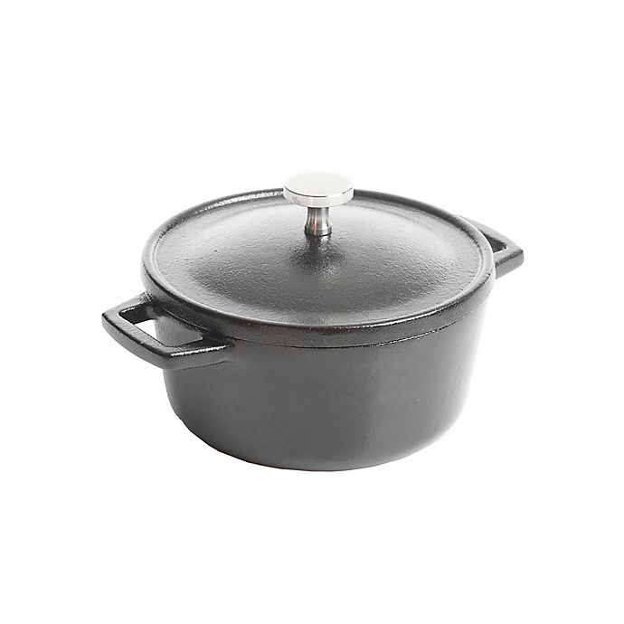 Alternate image 1 for Artisanal Kitchen Supply® Pre-Seasoned Cast Iron 4-Inch Mini Dutch Oven in Black