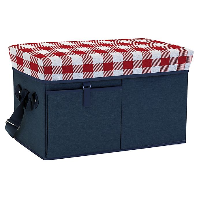 Alternate image 1 for Picnic Time® Ottoman Cooler in Navy/Plaid