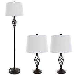 Nottingham Home 3-Piece Spiral Table and Floor Lamp in Black