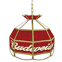 Budweiser® Logo Stained Glass Pendant Billiard Lamp in Red/White