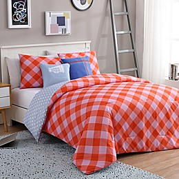 VCNY Home Checker 4-Piece Reversible Twin/Twin XL Comforter Set in Pink/Orange