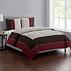 VCNY Home Tristian 3-Piece Framed Embossed Full/Queen Comforter Set in Red/Taupe