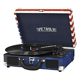 Victrola™ 3-Speed Bluetooth® Portable Suitcase Record Player in Red/Blue