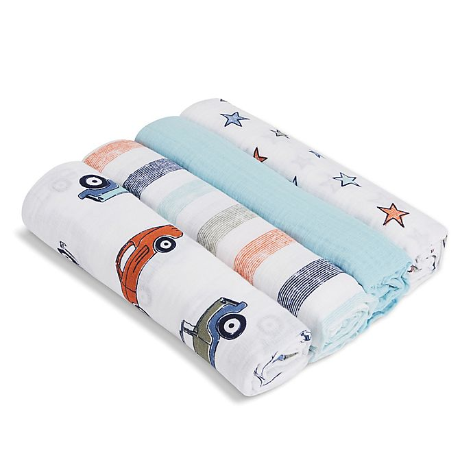 Alternate image 1 for aden + anais™ essentials Hit the Road 4-Pack Cotton Muslin Swaddles in Blue