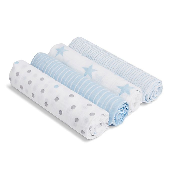 Alternate image 1 for aden® by aden + anais® Dapper 4-Pack Cotton Muslin Swaddles in Blue