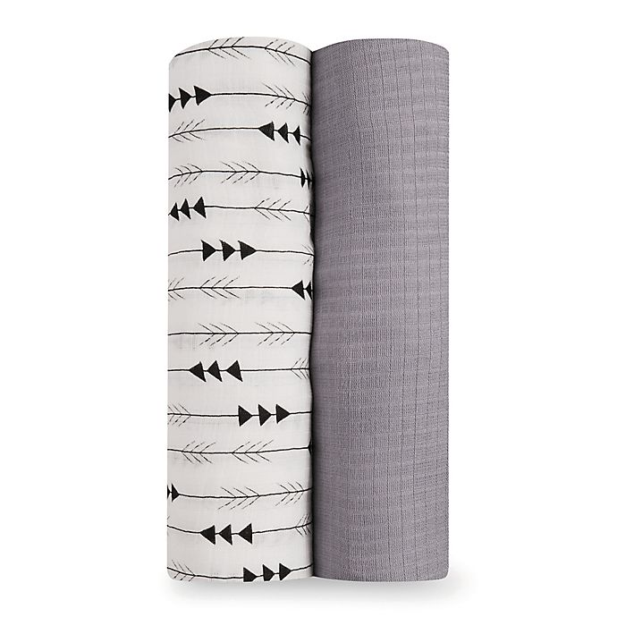 Alternate image 1 for aden® by aden + anais® Flying Arrow 2-Pack Silky Soft Swaddles in Grey