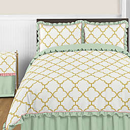 Sweet Jojo Designs Ava Bedding Collection in Mint/Coral