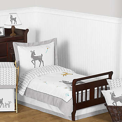 Sweet Jojo Designs Forest Deer Bedding Collection in Grey/White