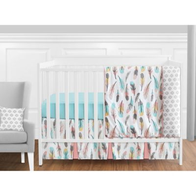 Baby Cot Sheet Aqua feathers baby bedding Turquoise feathers baby crib sheet Modern Fitted Crib Sheet