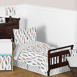 Sweet Jojo Designs Feather Toddler Bedding Collection in Turquoise/Coral
