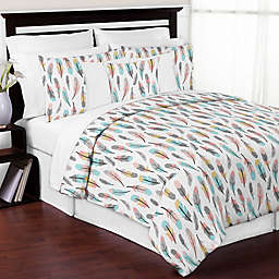 Sweet Jojo Designs Feather Comforter Set in Turquoise/Coral
