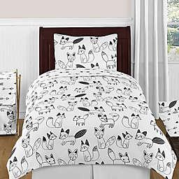 Sweet Jojo Designs® Fox 4-Piece Twin Comforter Set in Black/White