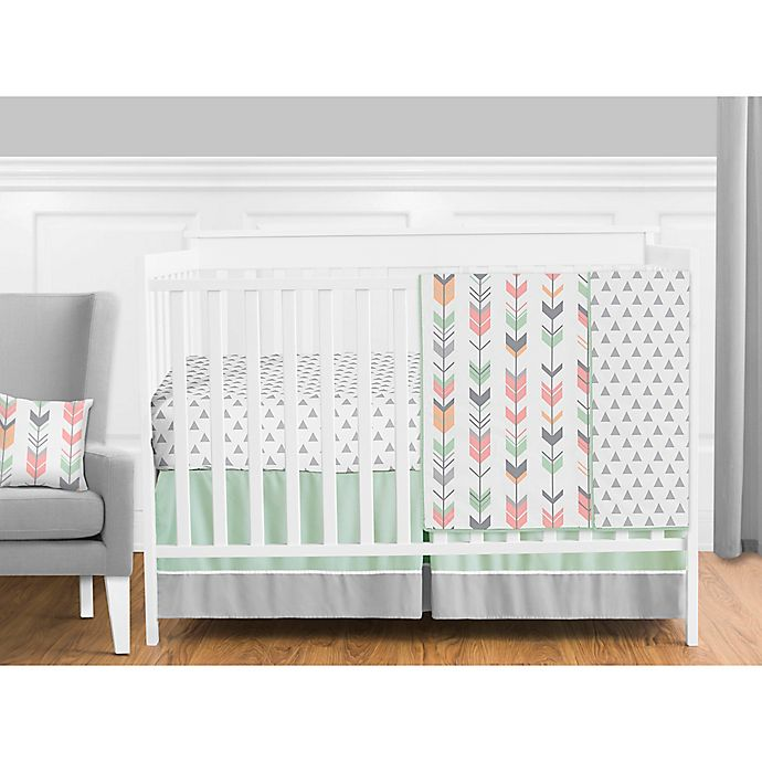 Alternate image 1 for Sweet Jojo Designs Mod Arrow Crib Bedding Collection in Coral/Mint