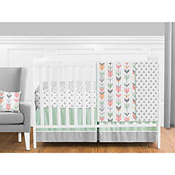 Sweet Jojo Designs Mod Arrow Crib Bedding Collection in Coral/Mint