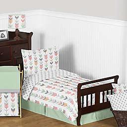Sweet Jojo Designs Mod Arrow 5-Piece Toddler Bedding Set in Coral/Mint