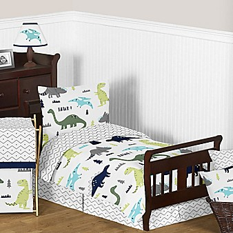 sweet jojo designs mod dinosaur toddler bedding collection in turquoisenavy - Toddler Bed Sets